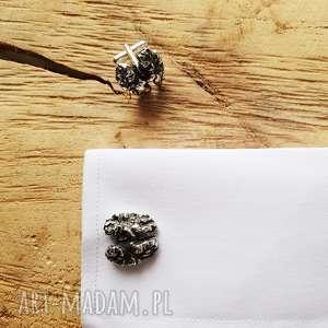 jegobizu srebrne spinki do mankietów orzech włoski, mózg, srebro, orzech, mózg