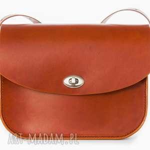 torebka skórzana piwonia koniakowa, torebka, torebkadamska na ramię
