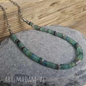 Naszyjnik ze srebra i antycznego szkła afgańskiego, srebro-naszyjnik, szkło-afgańskie