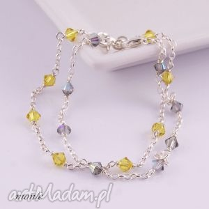 Bardzo delikatne Lime, bransoletka - ,cytrynowa,bransoletka,srebro,biżuteria,swarovski,