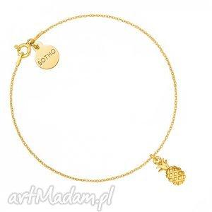 złota bransoletka z ananasem sotho - minimalistyczny, zawieszka, letnia