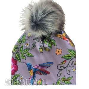 czapka beanie pompon z futra - pompon, czapa, kolibry, prezent, nadruk, czapka