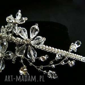 Opaska ślubna swarovski, opaska, slub, kryształki, kwiaty
