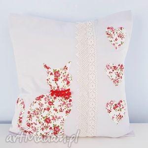 poduszka z kotkiem - ,meow,kot,kotek,patchwork,szara,poduszka,