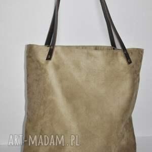 na ramię torba tote xxl - beżowa, tote, worek, alcala, eko zamsz, jucht
