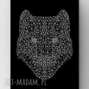 wilk black a3, plakat, grafika, dom, wilk, stado, outline
