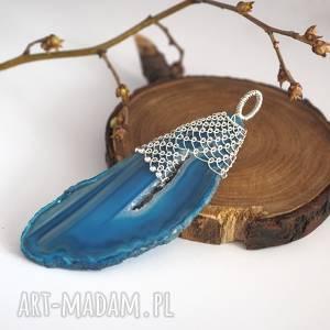 Koronkowy niebieski agat, srebro, pleciony