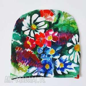 ręcznie robione czapki czapka kwiaty malowane