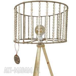 lampa stojąca, podłogowa, trójnóg, z drewna, skandynawska, stojąca