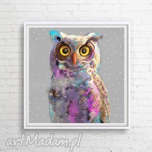 Obraz na płótnie Kolorowa Sowa 100x100cm, obraz, nowoczesny, sowa, salon, dladzieci