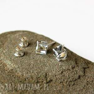 Kolczyki kryształki cube srebro pracowniamila kolczyki, srebrne