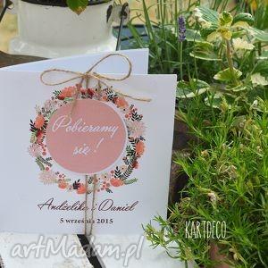 zaproszenia z motywem polnych kwiatów, zaproszenia, ślub, kwiaty, motyw