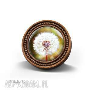 broszka drewniana liliarts - dmuchawiec naturalna, unikatowy, prezent