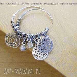 srebro, kolczyki naturalne perły ecru, perły, koła, zawieszki, srebro