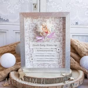 ręcznie wykonane ramka z aniołkiem stróżem, pamiątka narodzin, pamiątka chrztu, pamiątka