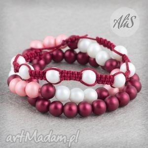 Matowe perełki - ,matowe,perełki,bordowa,makrama,różowa,biała,