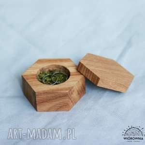 ślub drewniane pudełeczko na obrączki - heksagon