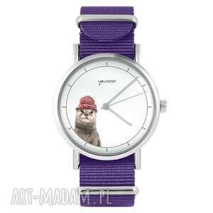 zegarki zegarek - wydra fioletowy, nylonowy, zegarek, nylonowy pasek, typ