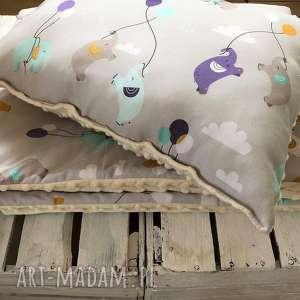 handmade pokoik dziecka kocyk z poduszką słoniki na kremowym minky