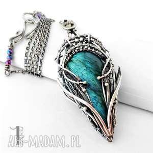 miechunka monoceros srebrny naszyjnik z labradorytem, srebro, labradoryt, wirewrappin