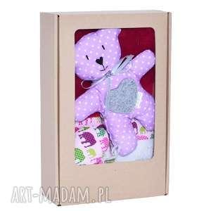 prezent z okazji narodzin komplet niemowlaka pink elephants, miś, niemowlak