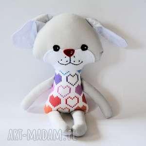 Pies kejter - wersja S Hania, pies, piesek, dziewczynka, serce, kolorowa, maskotka
