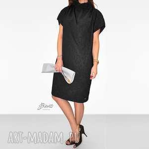sukienki długa czarna sukienka ze wstążką w róże l, w-kwiaty, ze-wstążką