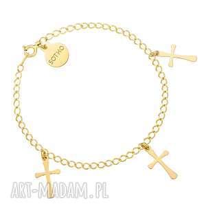 złota bransoletka z trzema krzyżykami, bransoletka, łańcuszek, krzyżyki, krzyżyk