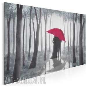 obraz na płótnie - parasol czerwony miłość las romantyczny 120x80 cm 88101