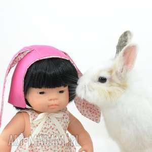 ubranka dla lalek miniland, kombinezon czapka z uszami, 38 cm, ubranka