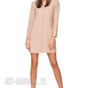 handmade sukienki elegancka sukienka z zakładką, t209, beżowy