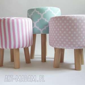 Pufa Różowe Kropeczki , puf, stołek, ryczka, taboret, hocker, siedzisko