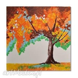 obrazy jesienne drzewo, nowoczesny obraz ręcznie malowany, obraz, nowoczesny,