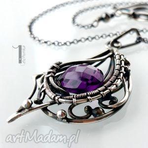 folium - srebrny naszyjnik z ametystem - srebro, ametyst, wirewrapping, ekskluzywny