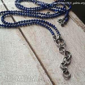 granatowa elegancja naszyjnik z lapisu i srebra, lapis lazuli, srebro oksydowane