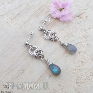 jewelsbykt kropelki niebieskości - kolczyki, srebrne kolczyki wiszące