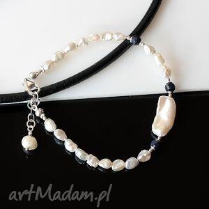 perły keishi bransoletka, perły, keishi, szafiry, srebro, ślub