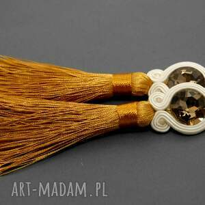 kolczyki sutasz z chwostem, sznurek, eleganckie, wiszące, wieczorowe, długie, chwost