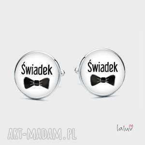 Spinki do mankietów ŚWIADEK - ,groom,wesele,ślub,uroczystość,prezent,pamiątka,