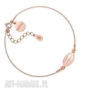 bransoletka z różowego złota z muszelką - różowa