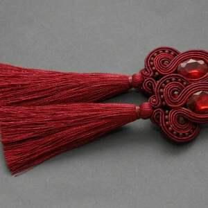 bordowe klipsyi sutasz z chwostami, sznurek, eleganckie, wiszące, wino, burgund