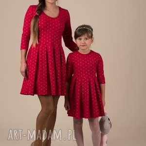 świąteczny prezent Komplet sukienek Gwiazdka, dzianina, złotynadruk, gwiazki, świeta