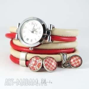 Komplet - zegarek i kolczyki kremowo, czerwony owijany