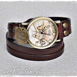 zegarki skórzany zegarek dla podróżniczki, zegarek, skóra, mapa, podróż, motywacja