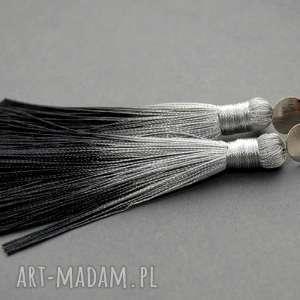 kolczyki z chwostami ombre, sznurek, eleganckie, wiszące, wieczorowe, długie, chwost
