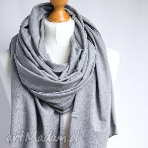 Duży obszerny szal bawełniany - SZARY, modny bawełniany, szal,