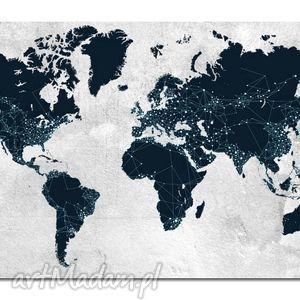 obraz mapa świata -dms3 - 120x70cm na płótnie, obraz, mapa, świata