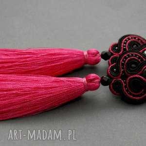 fuksjowo-czarne kolczyki sutasz z onyksami i chwostami, sznurek, eleganckie, wiszące