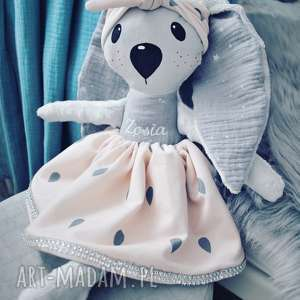 maskotki króliczka w opasce z imieniem, przytulanka, maskotka, baby doll, pokój