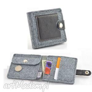 minimalistyczny portfel- mini- unisex, skóra, filc, skórzany, filcowy, portfelik